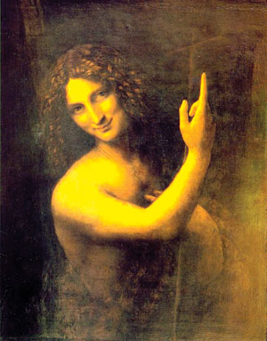 ST JOHN THE BAPTIST was painted by Leonardo da Vinci around 1513-1516 with oil on wood. It was his last painting and is now housed in the Louvre in Paris.