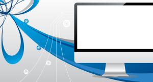 A Mac computer set against a dynamic background.