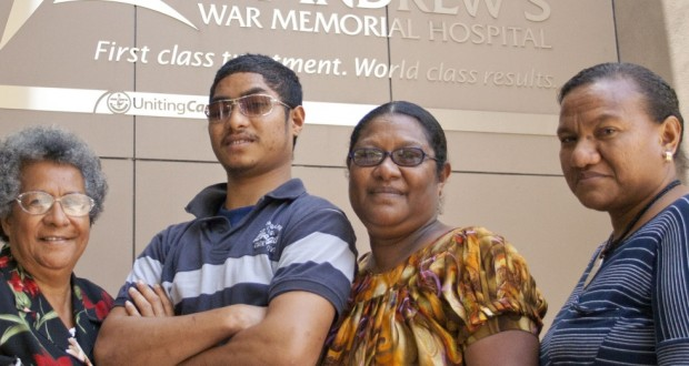 Vebui Bala with family members (L–R) Paia Ingram, Kinibo Bala and Lilly Manega in front of St Andrew's war memorial hospital.