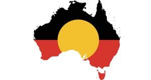 Map of Australia featuring Aborignal flag