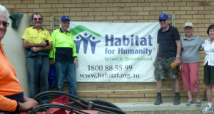 Ipswich Habitat for Humanity volunteers at a Brush with Kindness event in October: Wayne Hill (front) and left to right: Stephen Palmer, Ken Fischer, Ray and Kath Browning, and Dawn Foote. Photo by Trevor Foote.