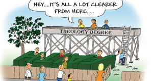 Theology cartoon. Illustration by Phil Day.
