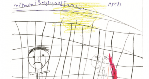 Drawing by Arrith, who was locked up in an off-shore detention centre. Source is Sarah Hanson-Young.
