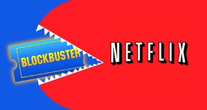 Netflix eating Blockbuster. Graphic by Ashleigh Pesu.