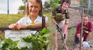 Diane Kelly, Mudgeeraba Uniting Church garden manager. Sylvia Pitt and Con Janduris planting rosella bushes at Sunnybank Uniting Church community garden.