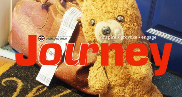 March Journey 2016 masthead. Worn teddy with a old bag on a welcome mat.