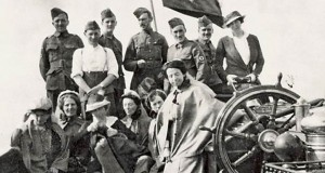 Lady Rachel Dudley's Australian Voluntary Hospital Unit (Martha Burns standing at the front) heading for France in 1914. Photo is Courtesy of the Australian War Memorial.