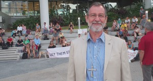 Uniting Church president Stuart McMillan at the rally outside Lady Cilento hopsital, South Brisbane. Photo: Holly Jewell