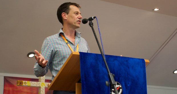 Dr Leigh Trevaskis, recently appointed director of education for ministry and principal of Trinity College Queensland, addresses the 32nd Synod. Photo by Uniting Communications.