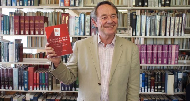 Rev Dr Geoff Thompson at the recent launch of his book, Trinity Theological Library, Brisbane. Photo by Mardi Lumsden.