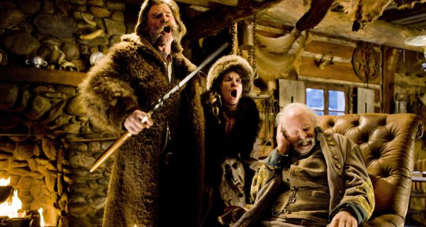 Kurt Russell, Jennifer Jason Leigh and Bruce Dern in The Hateful Eight. Photo by Roadshow Entertainment.