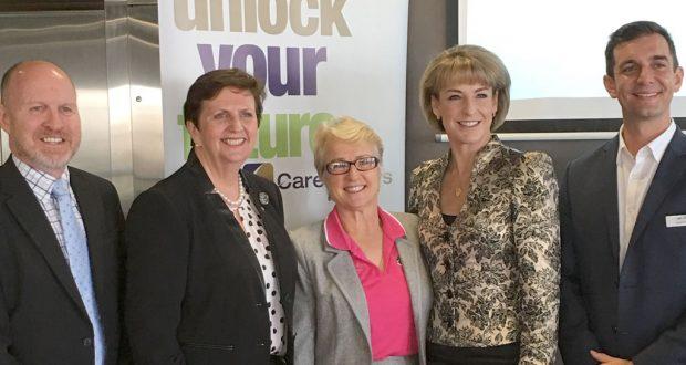 (L—R) Geoff Batkin, Anne Cross, Judy Wollin, Senator Michaelia Cash and Trevor Evans. Photo was supplied.