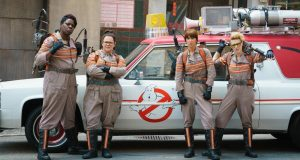 (L—R) Leslie Jones, Melissa McCarthy, Kristen Wiig and Kate McKinnon star in the all-female remake of Ghostbusters (2016). Photo property of Sony Pictures.