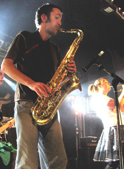 Sounds Like Chicken saxophone player Joel Dawson, onstage. Photo courtesy of Sounds Like Chicken