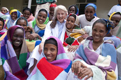 Dr Catherine Hamlin with patients at the Addis Ababa Fistula Hospital. Photo by Lucy Perry of Pure Graphics for the Hamlin Fistula Relief