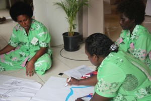 Women leaders brainstorm issues faced by women in the Pacific. Photo courtesy of UnitingWorld