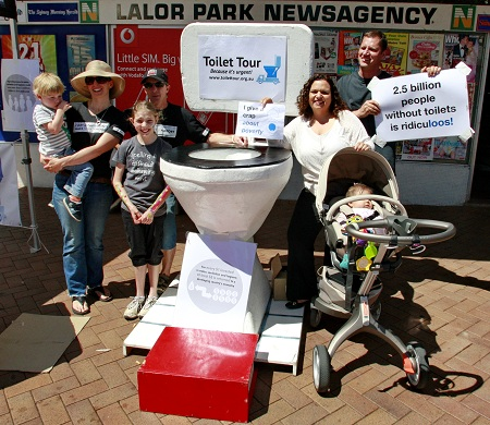 Michelle Rowland, Federal Member for Greenway with local residents supporting the Toilet Tour at Lalor Park Fair, October 2012.