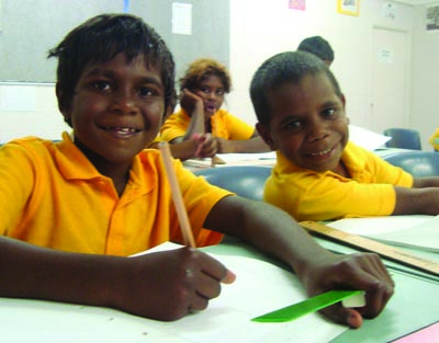 Shalom Christian College Primary students Brian and Darren enjoy learning. Photo: Shalom Christian College