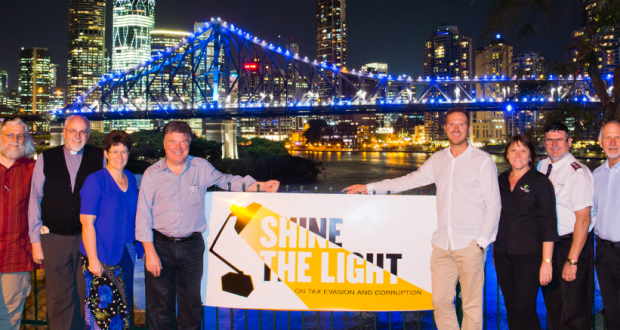 Queensland Synod Moderator Rev Kaye Ronalds with other church and community leaders at the Shine the Light prayer vigil.
