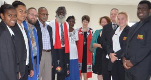 Shalom Christian College students and staff with leaders from the North Queensland and Calvary presbyteries, the Queensland Synod and the Uniting Aboriginal and Islander Christian Congress