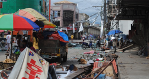 Ormoc city in western Leyte. Shops are closed and streets are full of debris. This photo was taken by Arlynn Aquino in November 2013 after Typhoon Haiyan.