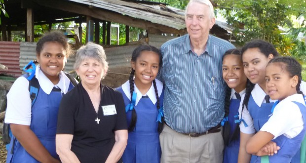 Judy and Alan with students of a Free Wesleyan Church School in Tonga.