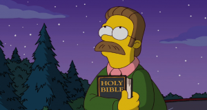 Ned Flanders from The Simpsons holding a Bible and looking up at the night sky.