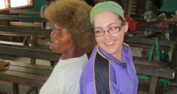 Lovelyn Tonavi from Guadalcanal United Church in the Solomon Islands congregations and Kristy Coleman from Beenleigh Regional Uniting Church participate in a pastoral care workshop in Aola village. Photo taken by Alan Robinson.