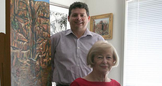 Rev Paul Clarke and artist Joy Harris. Photo taken by Holly Jewell.