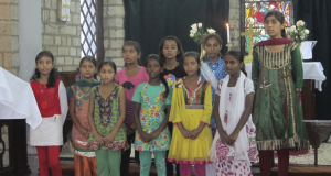 Girls singing at St James' Church of North India, Kangra. Photo taken by Frances Guard.