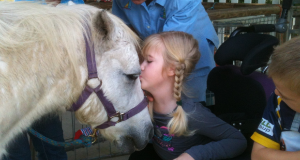 A young participant experiences horses up close at MacKay Riding for the Disabled. The photo was supplied.