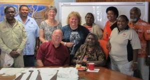 (L-R) Teddy Barkley (Cultural Advisor), Philemon Mene (Napranum Mayor), Irene and Stuart Scott and more. Photo taken by Brooke Prentis.