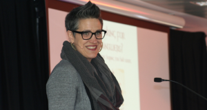 Rev Nadia Bolz-Weber speaking at UnitingWomen conference in Sydney. Photo by Holly Jewell.