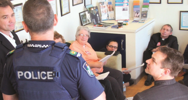 Christian protesters decline to leave the Hon Peter Dutton's office. Photo by Love Makes a Way.