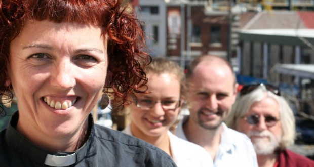 Rev Susan Pickering (West End Uniting Church), Lauren Ash (Micah Challenge Brisbane Coordinator), John Beckett (Micah Challenge National Coordinator) and Dave Andrews (Waiters Union) at West End Uniting Church. Photo by Holly Jewell.