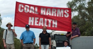 Aaron Matheson, Rev John Brentnall, Jason Koh, Professor Colin Butler, Ben Thurley at a coal protest at Gunnedah, NSW.