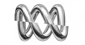 Australian Broadcasting Corporation logo sliced in half. Photo was supplied.