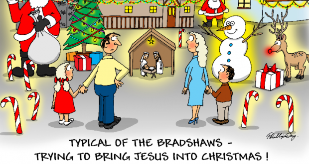 December cartoon of a house decorated with Christmas lights with a nativity scene centred. Cartoon by Phil Day.