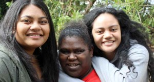 (L–R) Queensland young adults Alieta Molitika, Joyce Waia and Talahiva Taufa at the National Young Adult Leaders Conference in Sydney. Photo by Rohan Salmond.