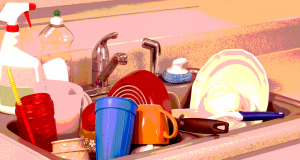 Dirty dishes in a sink. Graphic by Uniting Communications.