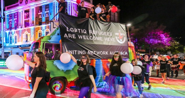 Uniting Network march in support of LGBTIQ refugees at the Sydney Gay and Lesbian Mardi Gras. Photo by Andrew Hill.
