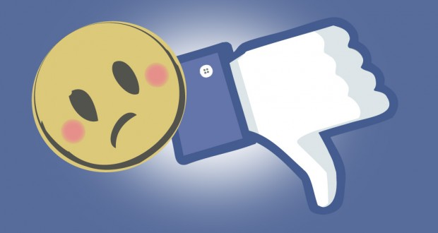 Facebook banner: sad face and unlike button. Graphic by Ashleigh Pesu.