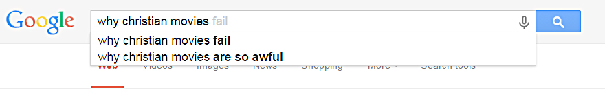 Google suggestions on Christian movies. Photo is a screenshot.