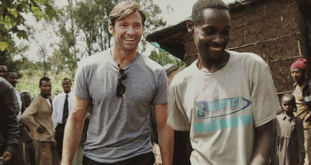 Hugh Jackman with Ethiopian coffee farmer, Dukale.