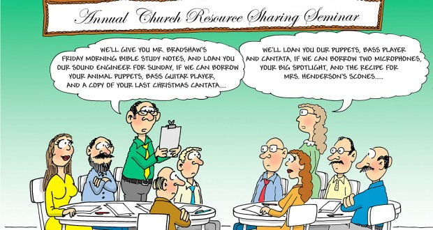 Resource sharing cartoon by Phil Day.