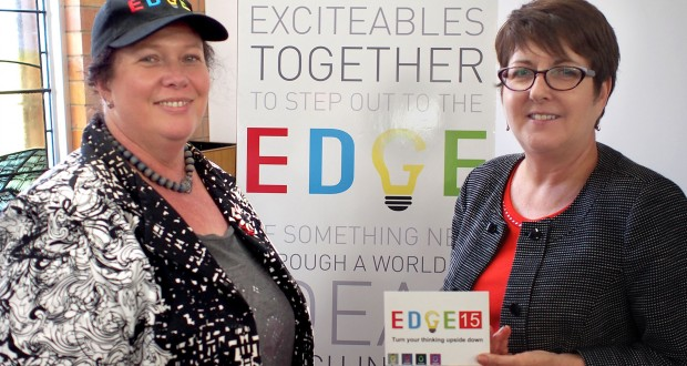 UnitingCare Queensland director of mission Colleen Geyer (left) with Edge 2015 guest speaker Vicki Webster (right). Photo by Ashley Thompson.