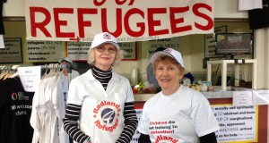 Redlands for Refugees members Sylvia Jones (left) and Lyn Moore (right) at the Redfest carnival. Photo by David Busch.