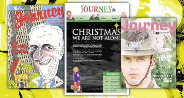 A few of our favourite covers: Journey's first edition (February 1986); Christmas cover (December 2006); and our most recent award-winning cover (April 2013).