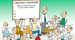 A cartoon on Christian leadership by Phil Day.