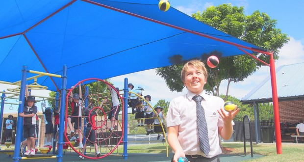 The Lakes College student and Uniting Church member Conor Kikkert juggling. Photo: Ashley Thompson